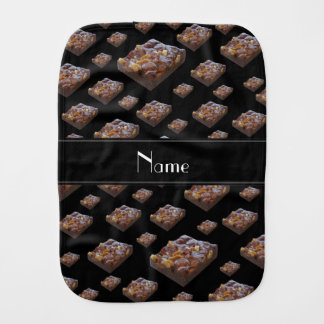 Personalized name black brownies baby burp cloths
