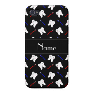 Personalized name black brushes and tooth pattern case for iPhone 4