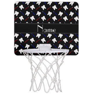 Personalized name black brushes and tooth pattern mini basketball backboard