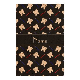 Personalized name black brushes and tooth pattern cork paper print