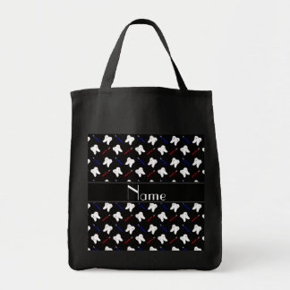 Personalized name black brushes and tooth pattern tote bag