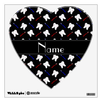 Personalized name black brushes and tooth pattern room sticker