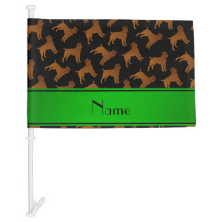 Personalized name black brussels griffon dogs car flag