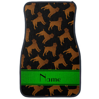 Personalized name black brussels griffon dogs car mat