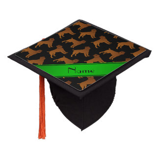 Personalized name black brussels griffon dogs graduation cap topper