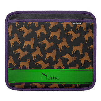 Personalized name black brussels griffon dogs iPad sleeve