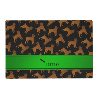 Personalized name black brussels griffon dogs placemat