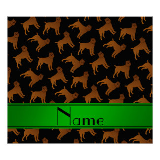 Personalized name black brussels griffon dogs poster