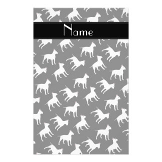 Personalized name black bull terrier dogs stationery