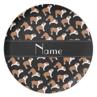 Personalized name black Bulldog Dinner Plate