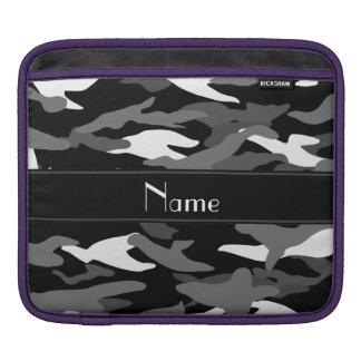 Personalized name black camouflage black stripe iPad sleeves