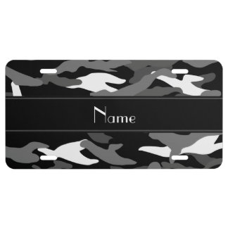 Personalized name black camouflage black stripe license plate