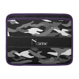 Personalized name black camouflage black stripe MacBook air sleeves