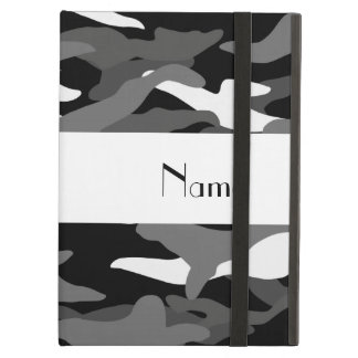 Personalized name black camouflage iPad air cover