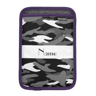 Personalized name black camouflage iPad mini sleeve