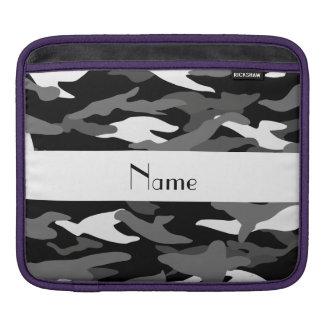 Personalized name black camouflage iPad sleeve