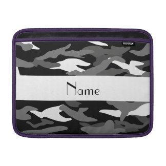Personalized name black camouflage MacBook air sleeves