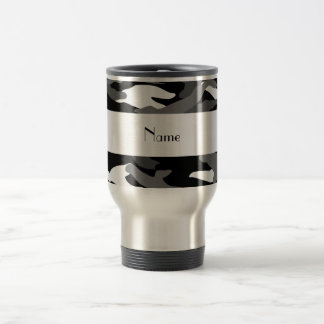 Personalized name black camouflage coffee mug
