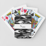 Personalized name black camouflage bicycle card decks