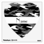 Personalized name black camouflage room stickers