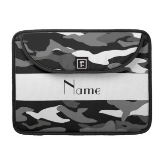 Personalized name black camouflage sleeve for MacBooks