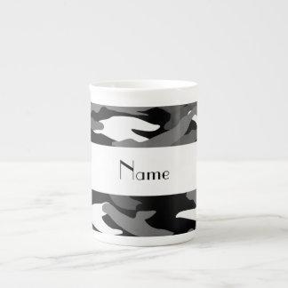 Personalized name black camouflage porcelain mug
