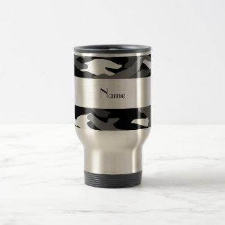 Personalized name black camouflage travel mug