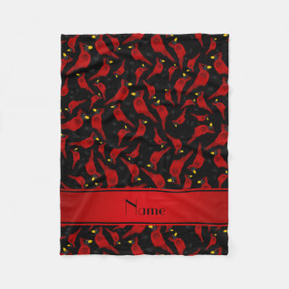 Personalized name black cardinals pattern fleece blanket