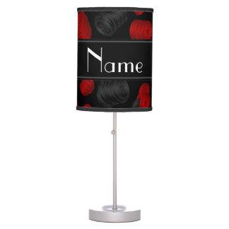 Personalized name black checkers game lamps