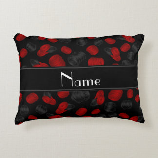 Personalized name black checkers game accent pillow