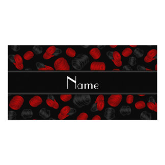 Personalized name black checkers game photo card