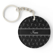 Personalized name black cheerleader pattern keychain