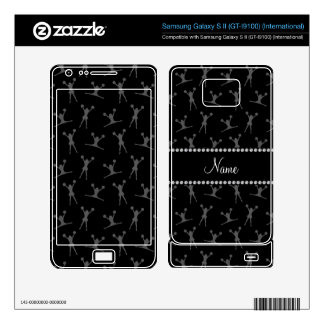 Personalized name black cheerleader pattern samsung galaxy s II decal