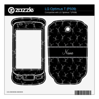 Personalized name black cheerleader pattern decal for LG optimus t