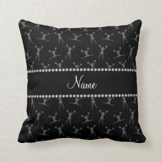 Personalized name black cheerleader pattern throw pillow