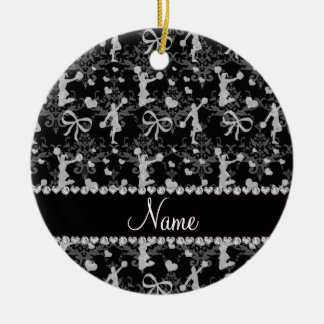 Personalized name black cheerleading damask ceramic ornament