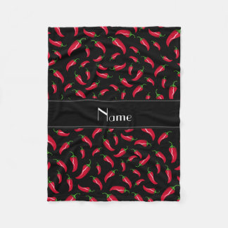 Personalized name black chili pepper fleece blanket