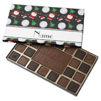 Personalized name black christmas golfing assorted chocolates