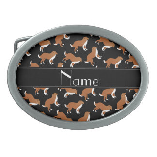 Personalized name black collie dog pattern belt buckle
