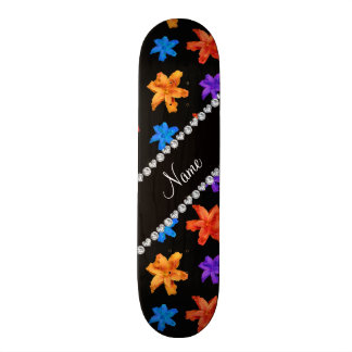Personalized name black colorful lily flowers skate deck