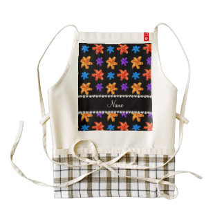 Personalized name black colorful lily flowers zazzle HEART apron