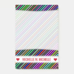 [ Thumbnail: Personalized Name; Black & Colorful Lines Pattern Notes ]
