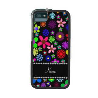 Personalized name black colorful retro flowers cover for iPhone 5