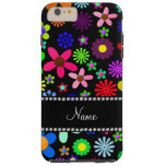 Personalized name black colorful retro flowers iPhone 6 plus case