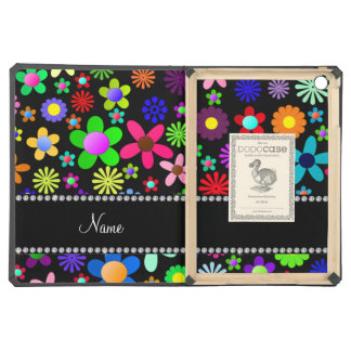 Personalized name black colorful retro flowers cover for iPad air