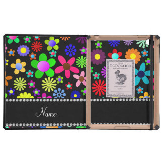 Personalized name black colorful retro flowers case for iPad