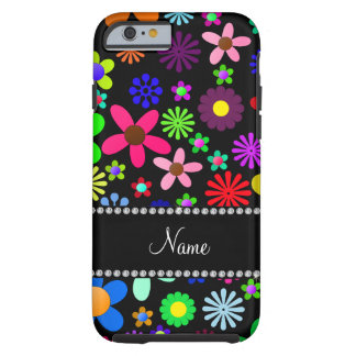 Personalized name black colorful retro flowers iPhone 6 case