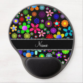 Personalized name black colorful retro flowers gel mousepad