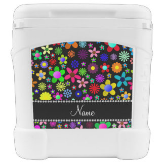 Personalized name black colorful retro flowers igloo roller cooler