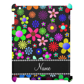 Personalized name black colorful retro flowers iPad cases